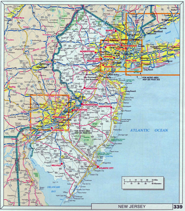 Large roads and highways map of New Jersey state with cities.