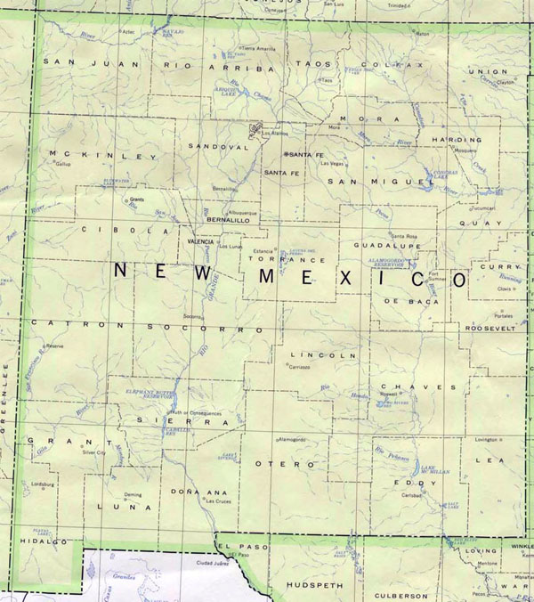 Detailed map of New Mexico state. New Mexico state detailed map.