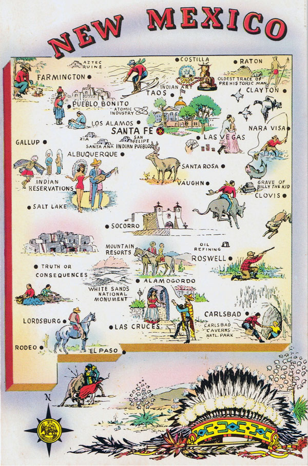 Detailed tourist illustrated map of New Mexico state.