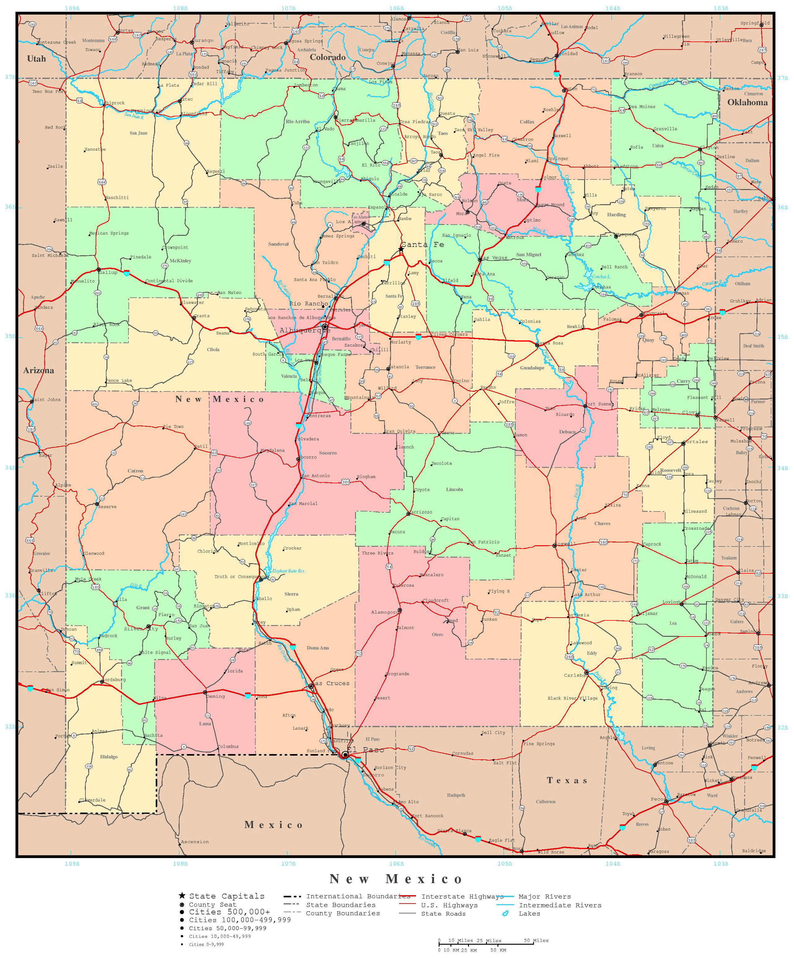 Large Detailed Administrative Map Of New Mexico State With