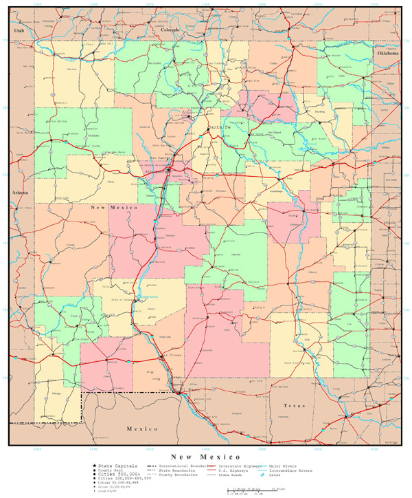Large detailed administrative map of New Mexico state with roads, highways and all cities.