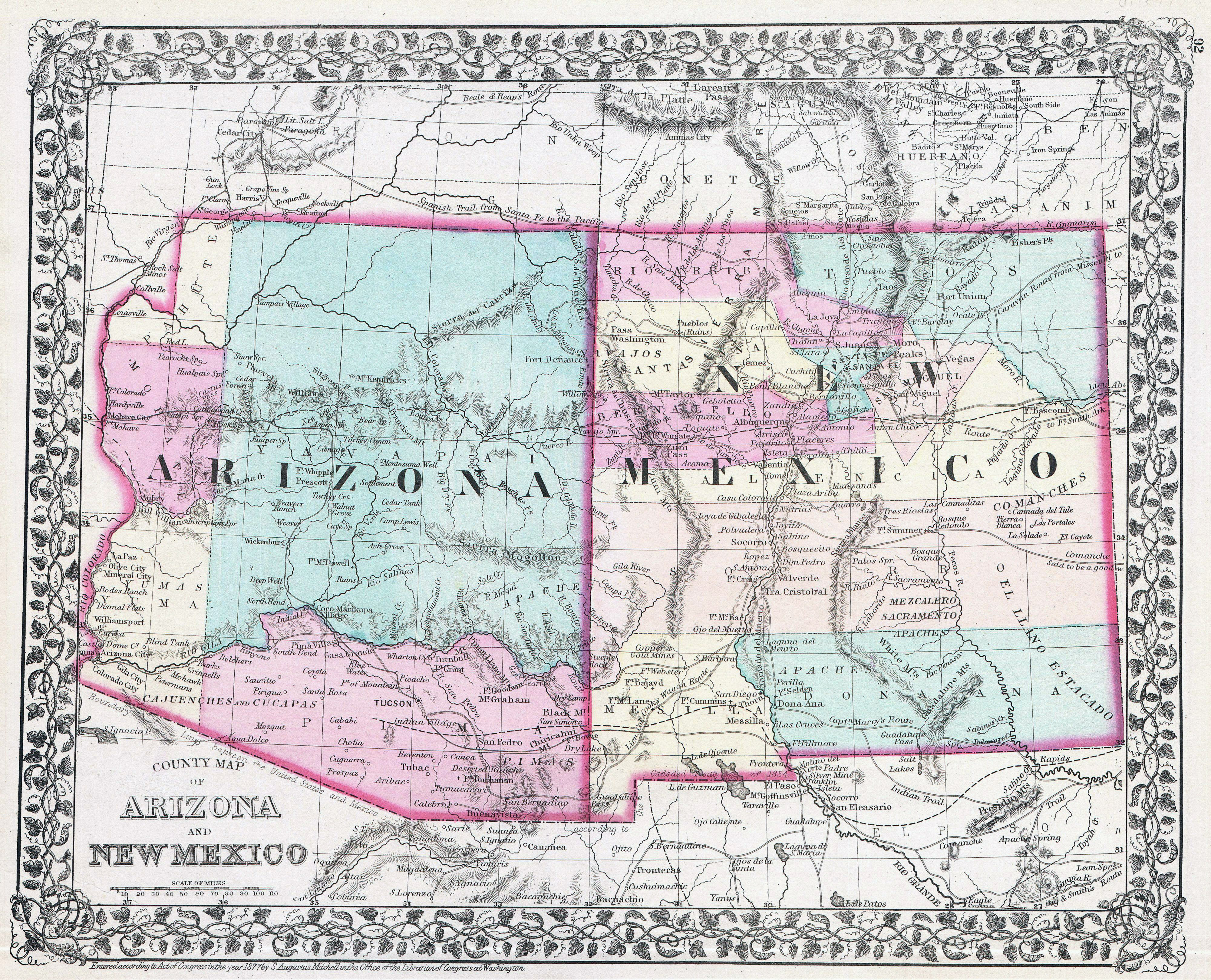 Large detailed old map of Arizona and New Mexico states 1877