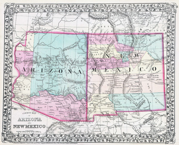 Large detailed old map of Arizona and New Mexico states - 1877.