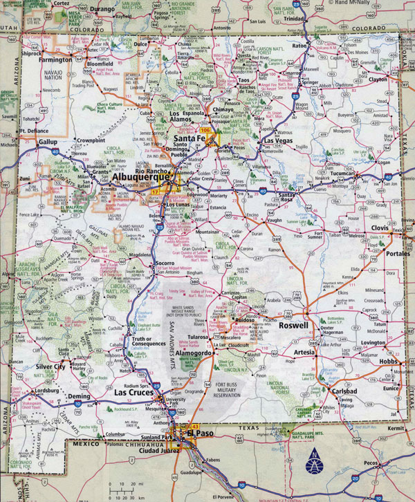 Large detailed roads and highways map of New Mexico state with cities.