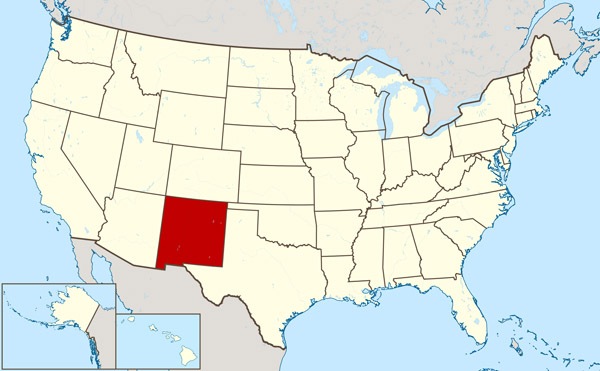 Large location map of New Mexico state.