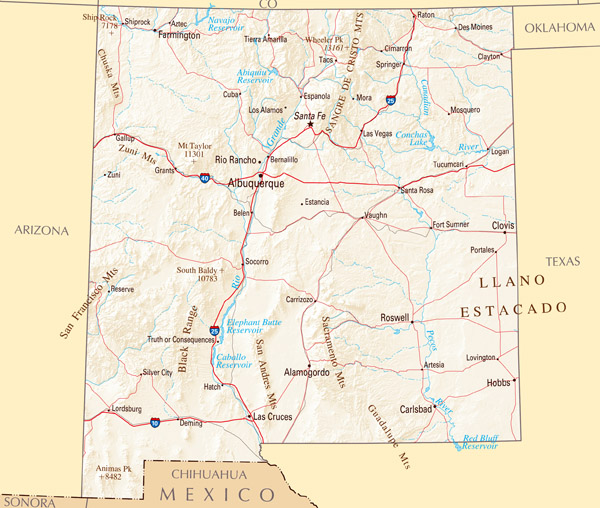 Large map of New Mexico state with relief, highways and major cities.