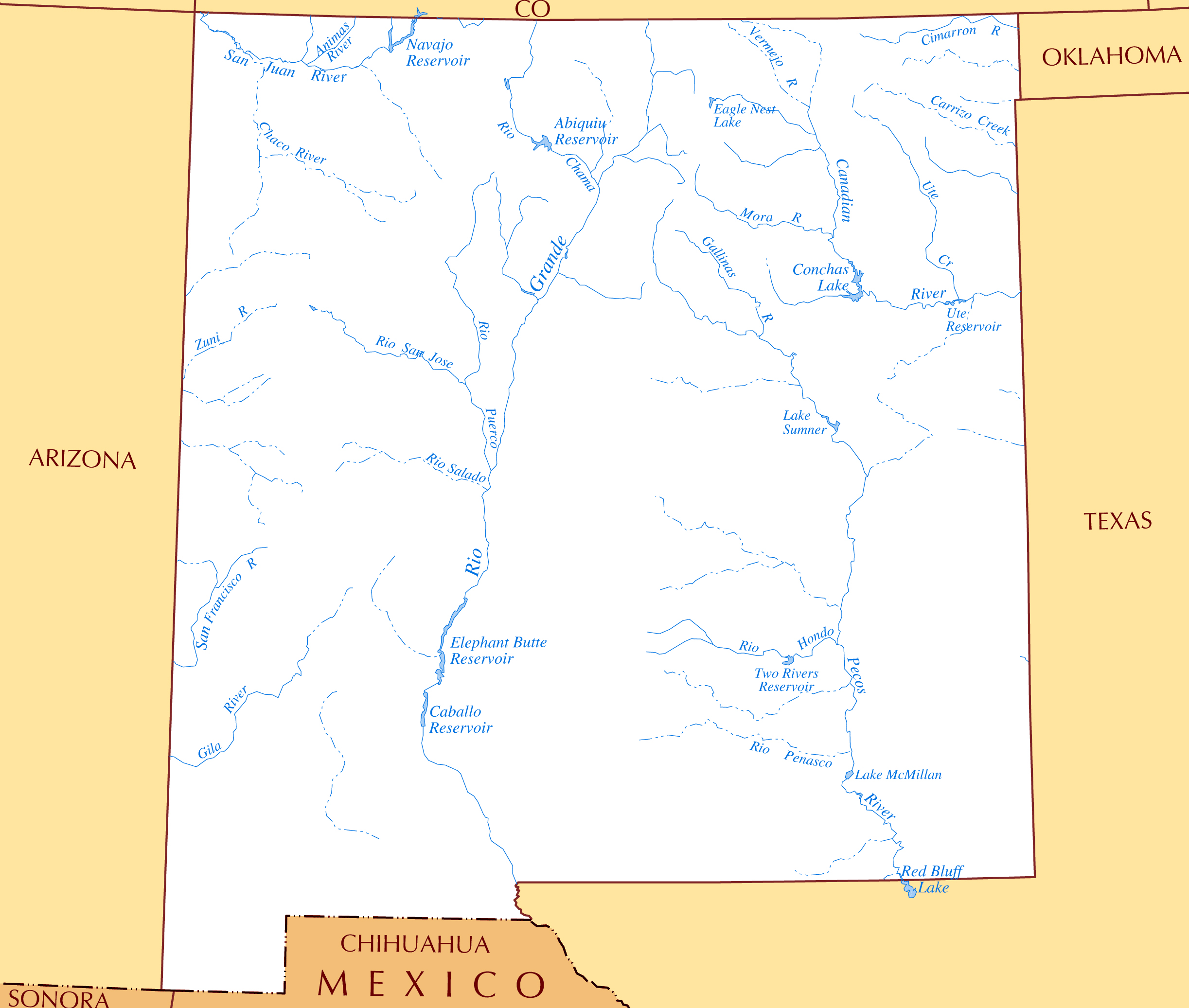 Rivers In New Mexico Map.Large Rivers And Lakes Map Of New Mexico State Vidiani Com Maps