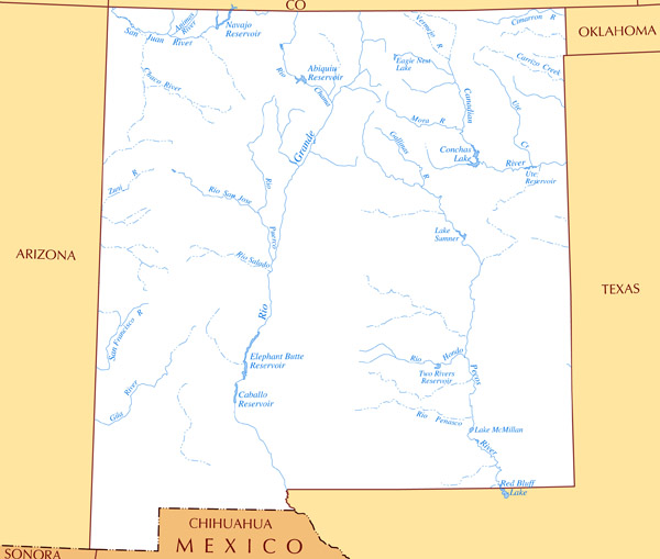 Large rivers and lakes map of New Mexico state.