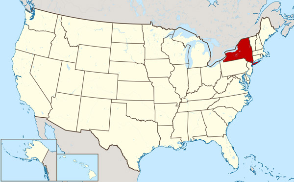 Detailed location map of New York state.