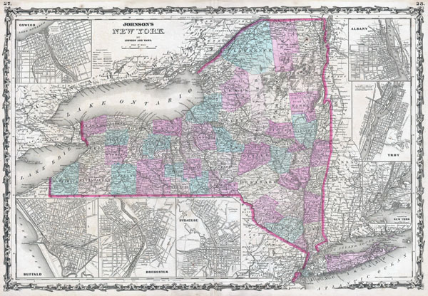 Large detailed old administrative map of New York state with towns, cities and railroads - 1862.