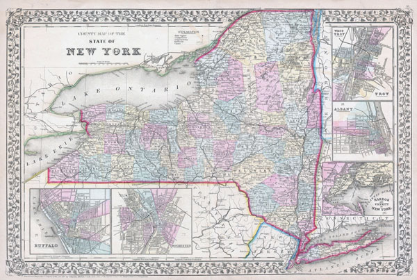 Large detailed old administrative map of New York state with towns, cities and railroads - 1867.
