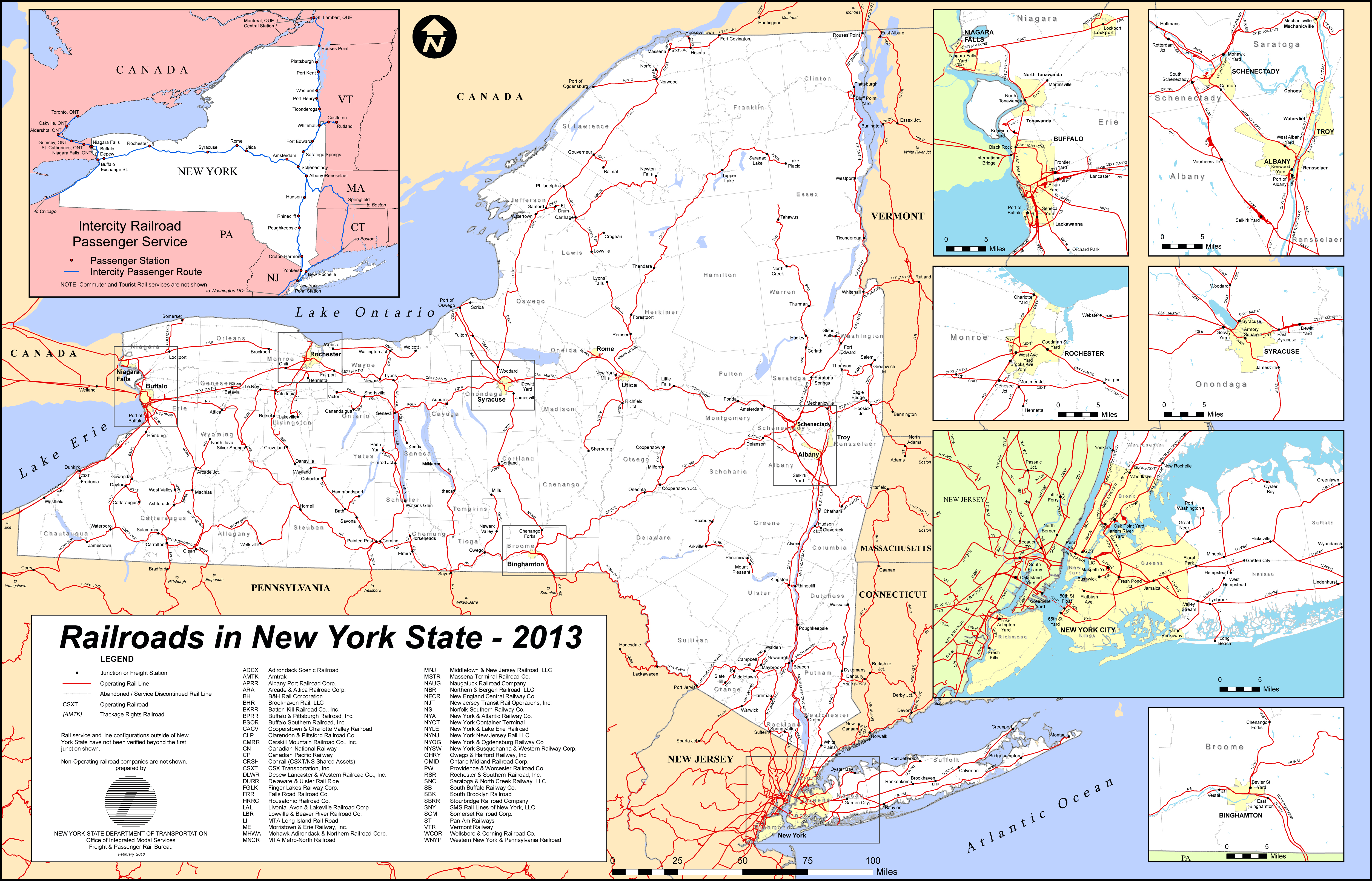 Large detailed railroads new map of New York state 2013 Vidiani