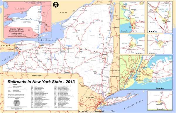 Large detailed railroads new map of New York state - 2013.