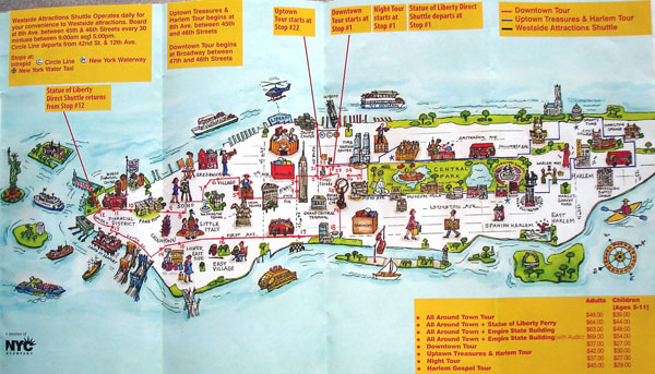Manhattan NYC travel illustrated map.