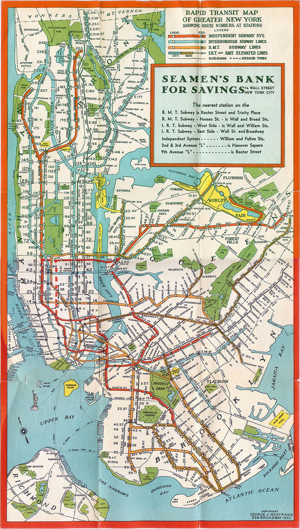 Manhattan New York subway map - 1930.