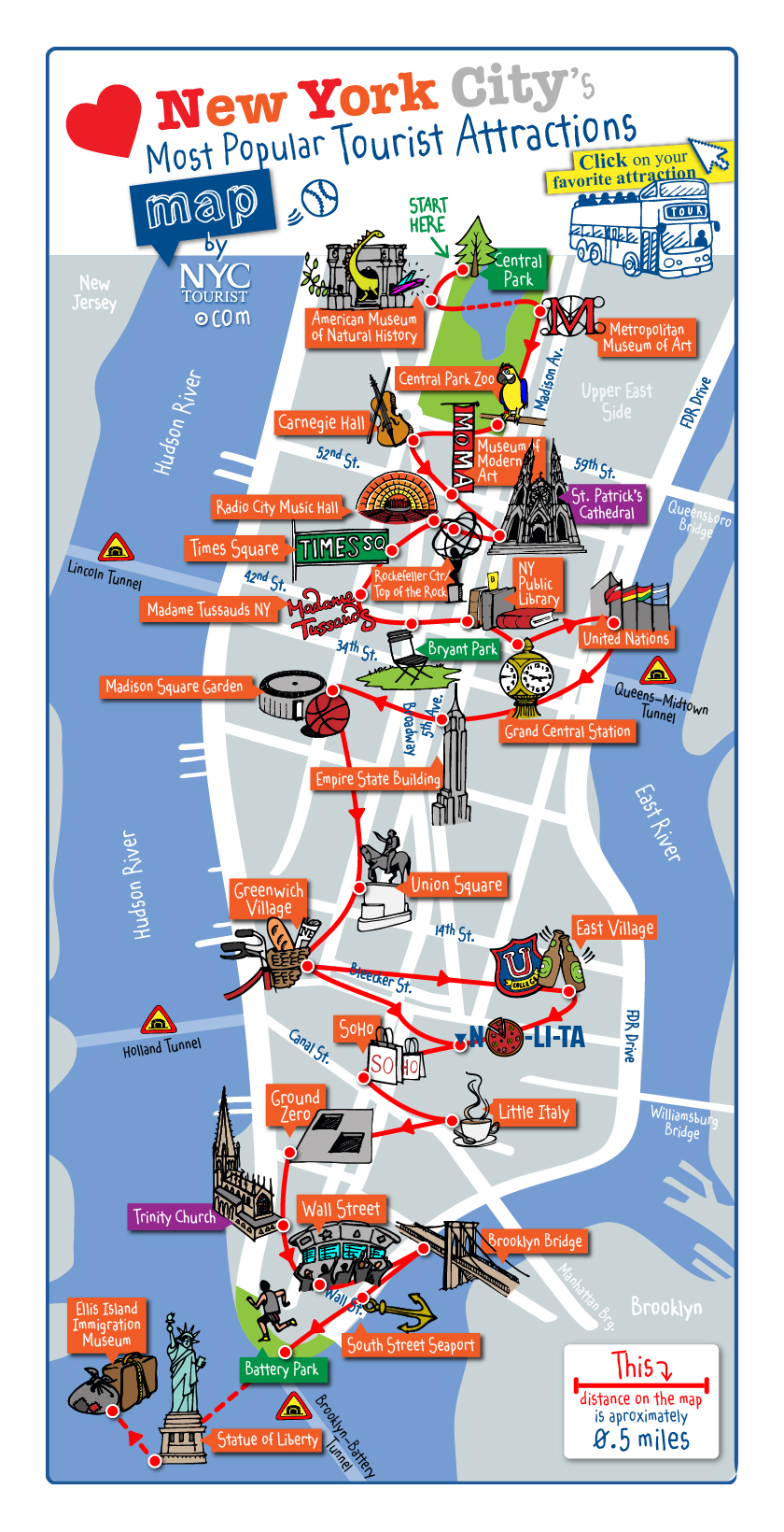 Detailed map of most popular tourist attractions of Manhattan NYC – Manhattan Map Tourist