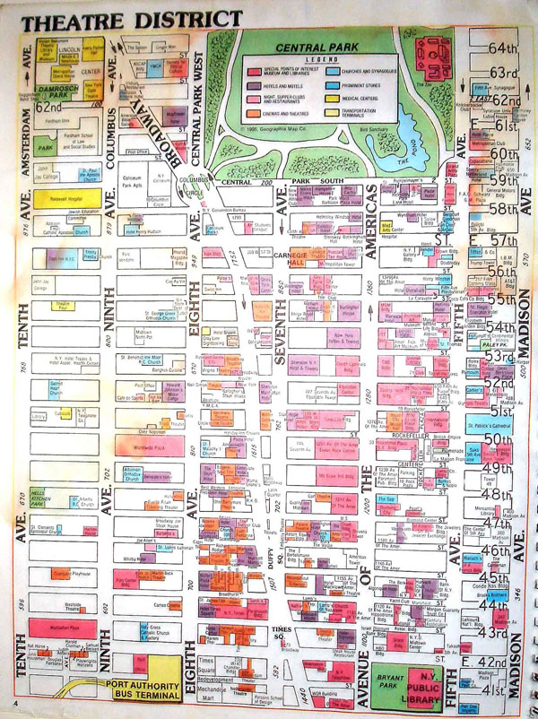 Detailed theatre district map of Manhattan.