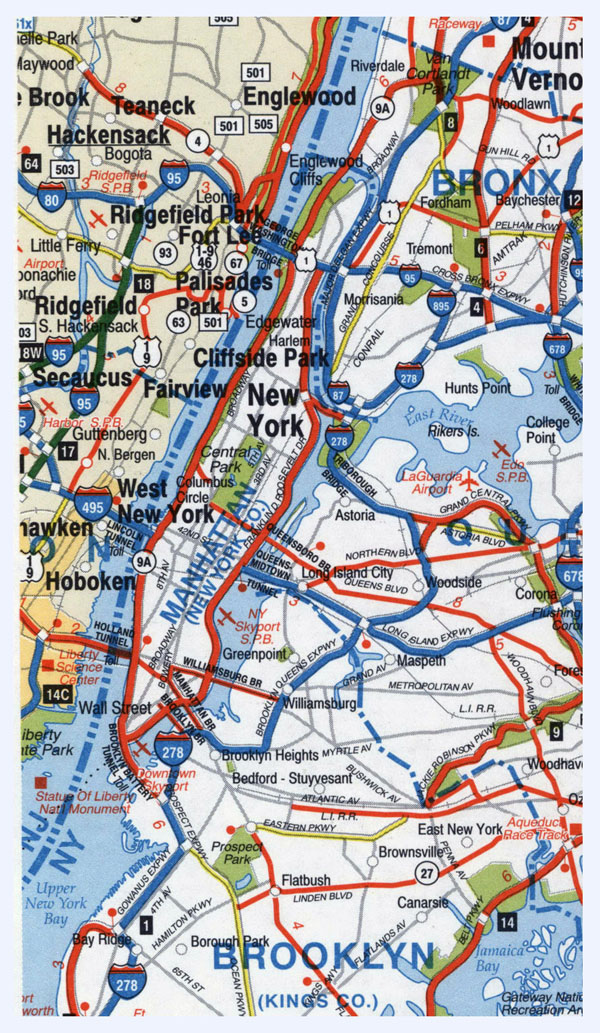 Highways map of Manhattan and surrounding area.