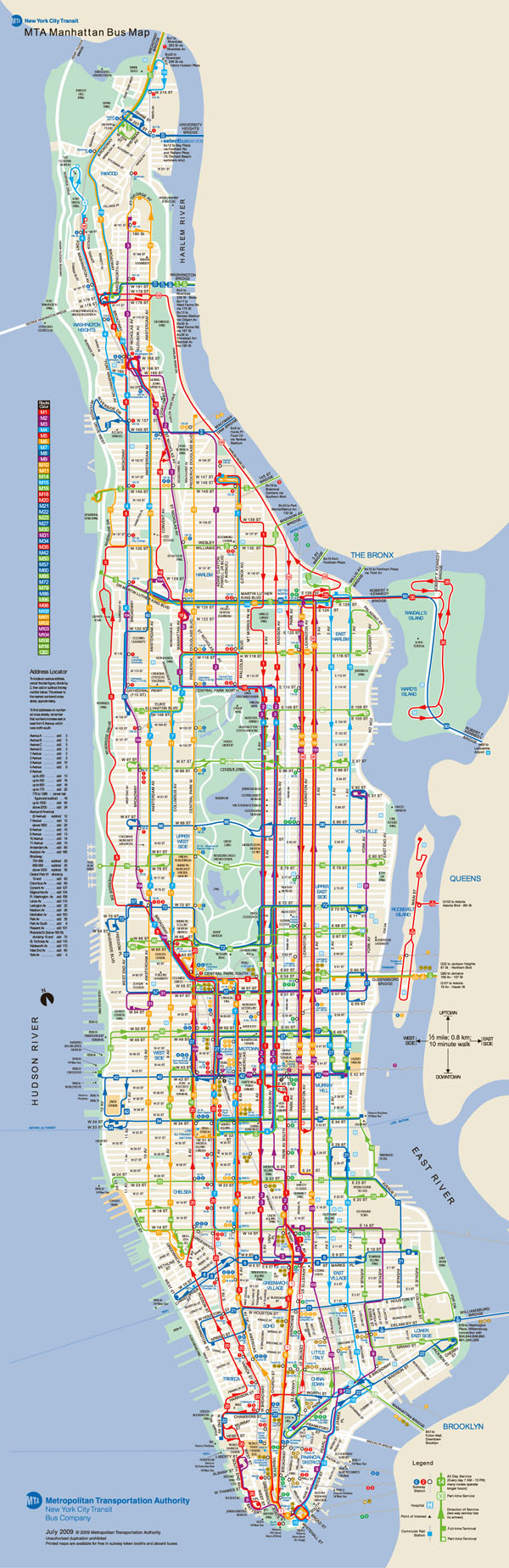 Large detailed bus routes map of Manhattan.