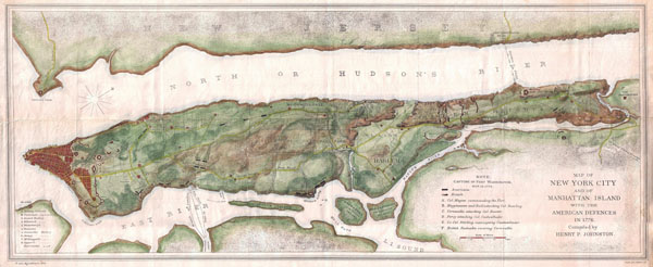 Large detailed map of New York city and of Manhattan island with the American Defences in 1776.