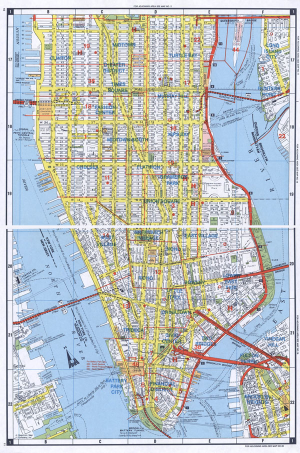 Large detailed road map of South Manhattan, NYC.