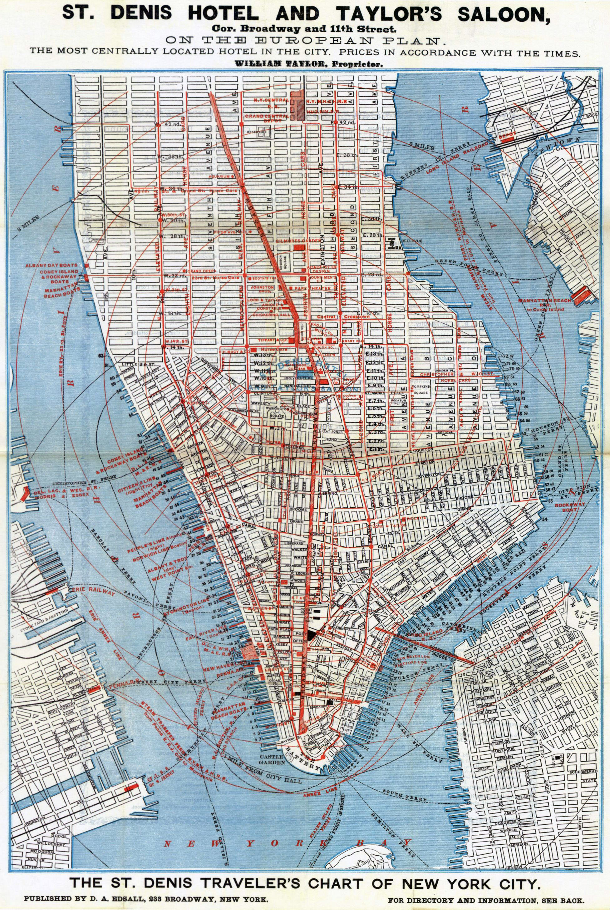 Hotel Map Of New York City.Large Detailed St Denis Hotel And Taylor S Saloon Road Map Of Lower