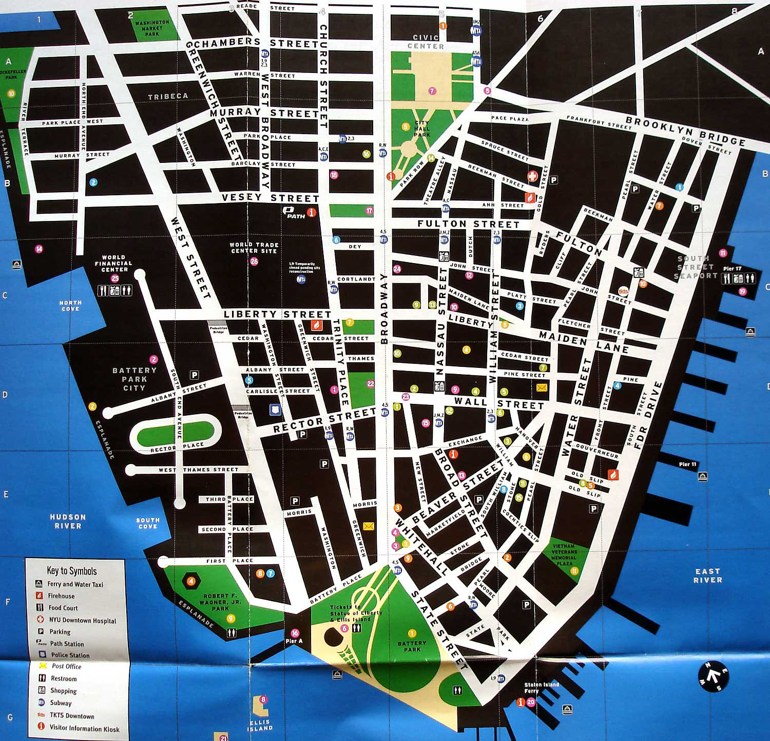 Large detailed tourist map of lower Manhattan Vidiani – Manhattan Map Tourist