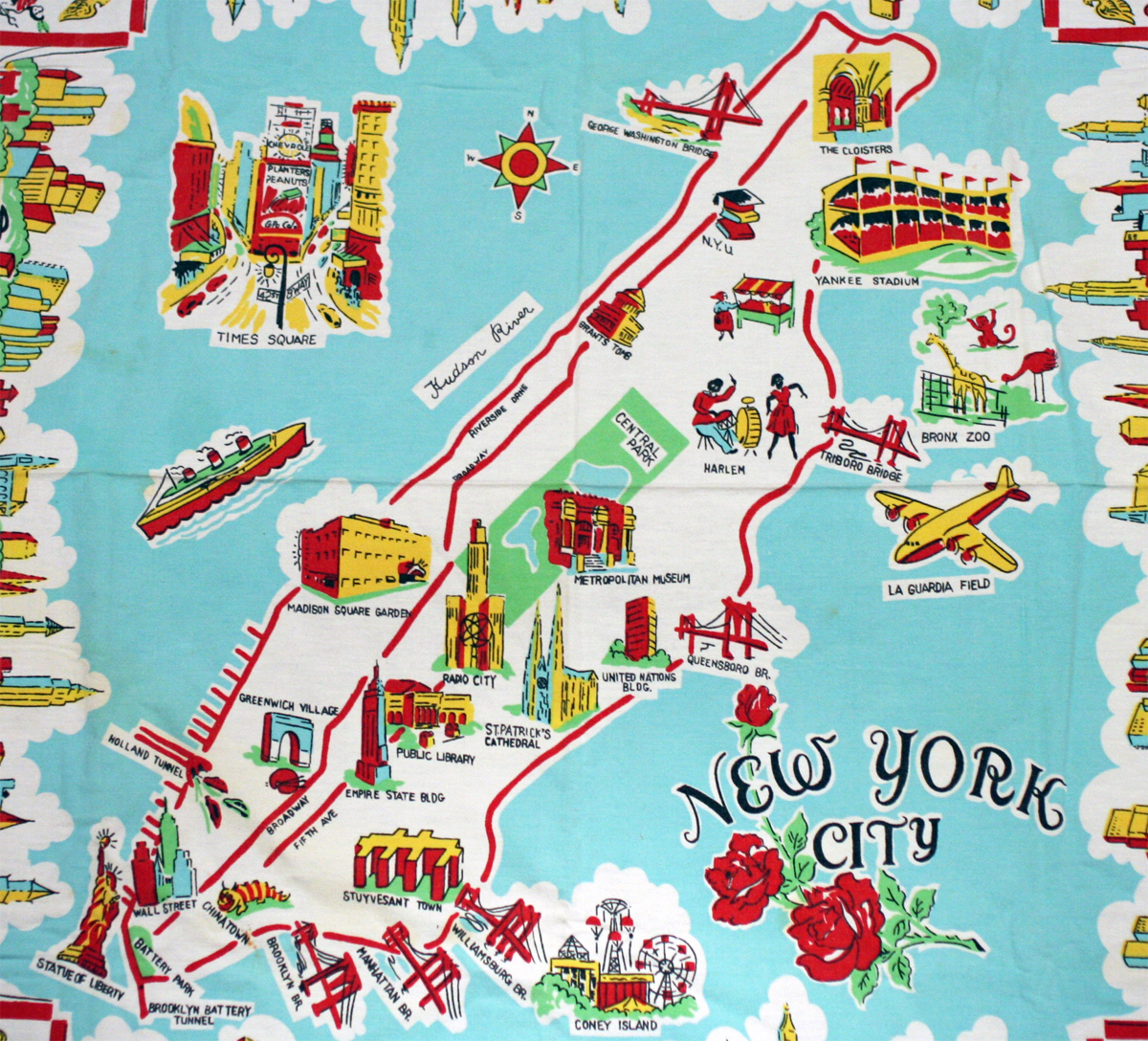 Large illustrated tourist map of new york city vidiani.com maps of all countries in one place.