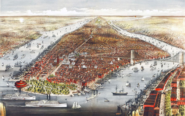 Large scale detailed old panoramic map of Manhattan, New York city - 1876.
