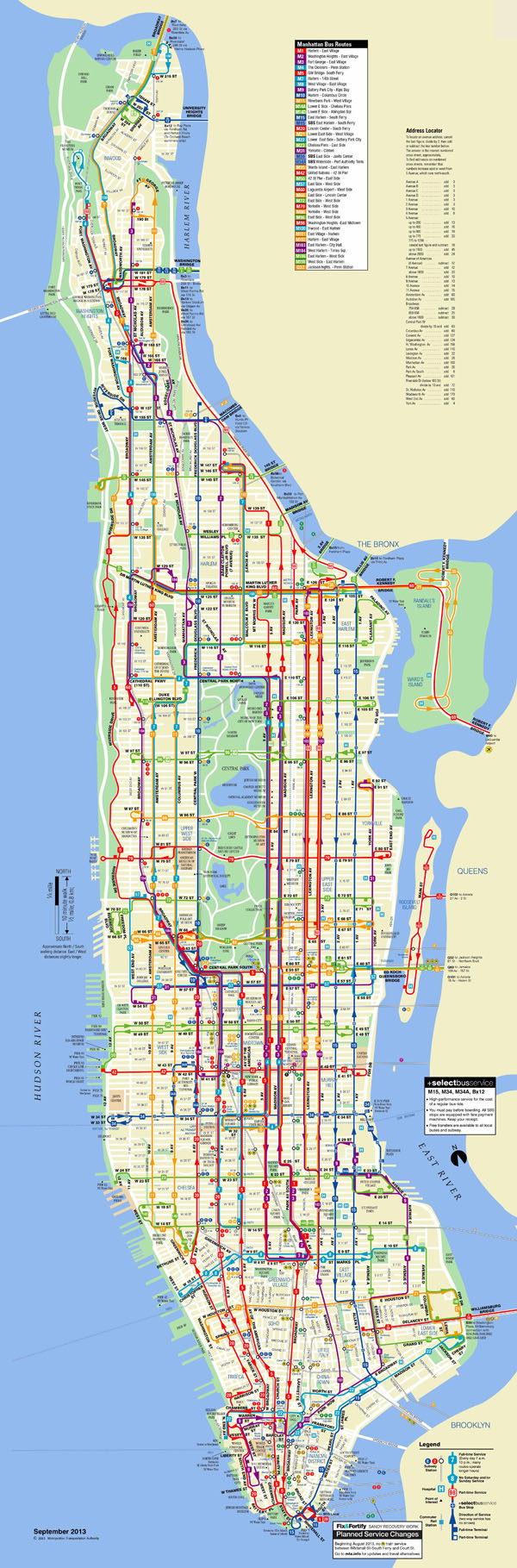 Large scaled detailed bus routes map of Manhattan NYC.
