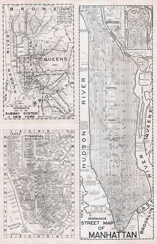 Large scaled printable old street map of Manhattan, New York city - 1945.