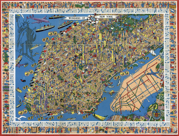 Perspective illustrated map of Manhattan.