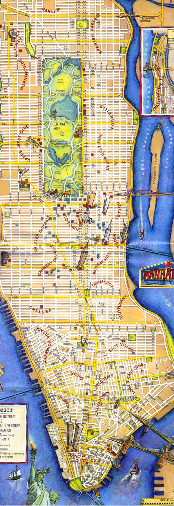 Tourist map of Manhattan. Manhattan tourist map.