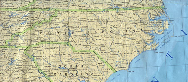 Detailed map of North Carolina state. North Carolina state detailed map.