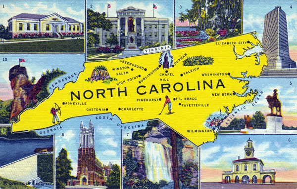 Detailed North Carolina postcard with map.