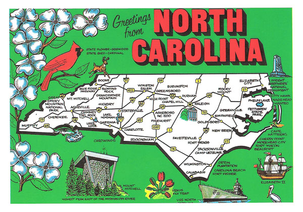 Detailed tourist illustrated map of North Carolina.