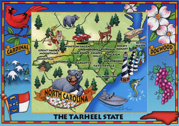 Detailed tourist illustrated map of North Carolina state.