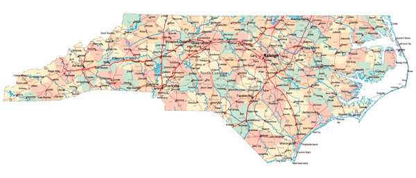 Large administrative map of North Carolina state with roads, highways and major cities.