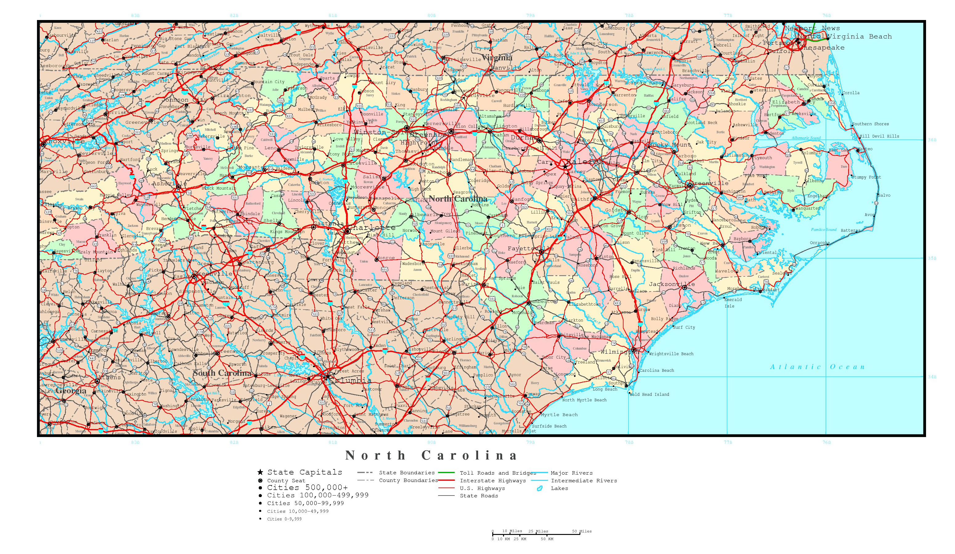 Large detailed administrative map of North Carolina state with ...
