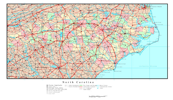 Large detailed administrative map of North Carolina state with highways, roads and all cities.