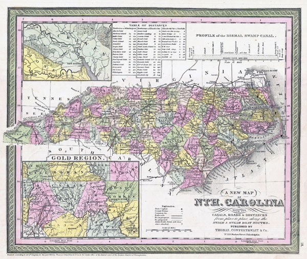 Large detailed old administrative map of North Carolina state - 1850.