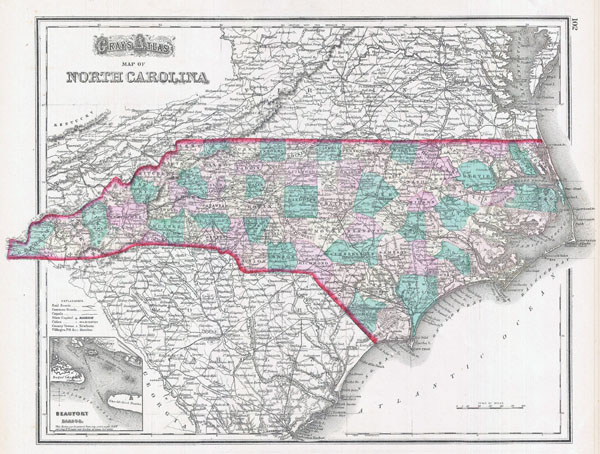 Large detailed old administrative map of North Carolina state - 1874.