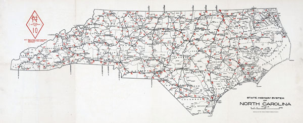 Large detailed old highways system map of North Carolina state - 1922.