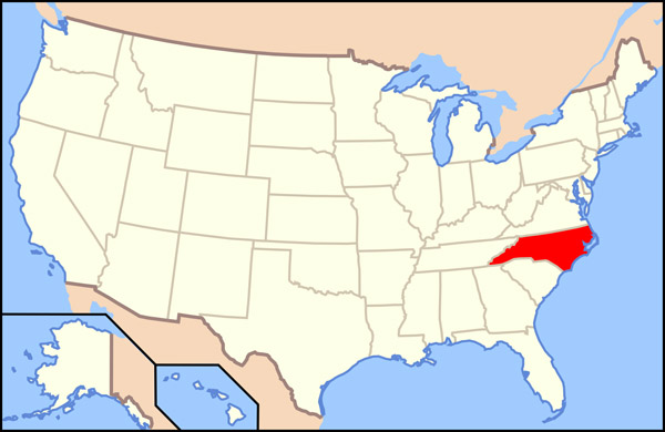 Large location map of North Carolina state.
