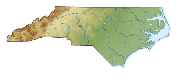 Large relief map of North Carolina state.