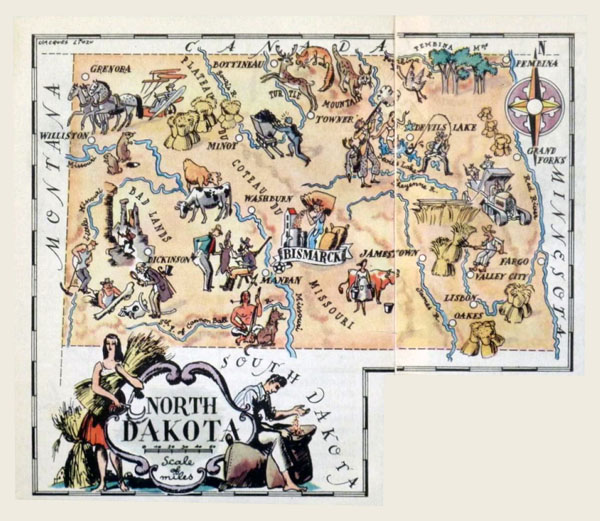 Detailed tourist illustrated map of North Dakota state.