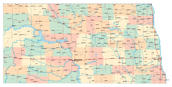 Large administrative map of North Dakota state with major cities and roads.