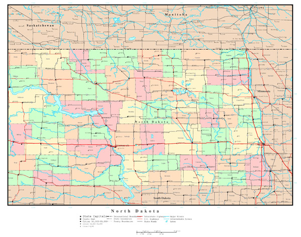 Large detailed administrative map of North Dakota state with roads, highways and all cities.