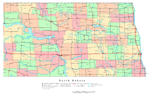 Large detailed administrative map of North Dakota state with roads, highways and cities.