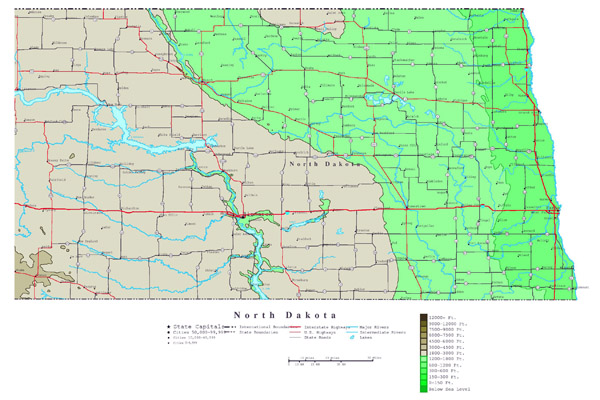 Large detailed elevation map of North Dakota state with roads and cities.